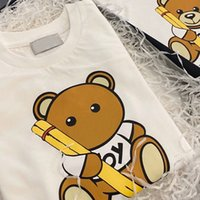 Kids Fashion Sweatshirts 2020 New Arrival Trendy Letter Print with Draw Pen Bear Pattern Pullover Tops Boys Girls Casual Long Sleeve Hoodie