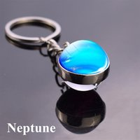 Wholesale car free arts resale online - Solar System Planet Keyring Nebula Space Keychain Moon Earth Art Picture Double Side Glass Ball Key Chain