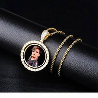 Wholesale medallion necklace resale online - Custom Made Photo Medallions Pendant Necklace Double sided Rotation With Rope Chain Gold Silver Rosegold Color Cubic Zircon