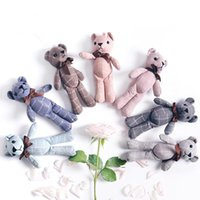 Wholesale wedding stuff resale online - Hot Sale Mini Joint Bear Stuffed Plush Toys cm Cute Plaid Teddy Bears Pendant Dolls Gifts Birthday Wedding Party Decor
