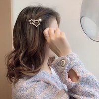 frange éclair achat en gros de-Korean Five Pointed Star bord clip Coiffe Tempérament Bangs simple clip Super Flash en alliage diamant incrusté Hairpin gros