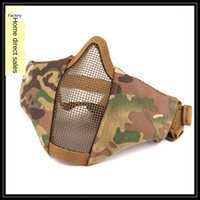 Wholesale steel mesh half face mask for sale - Group buy 8KGnL V10 new steel wire mesh protective mask outdoor cycling Protection Bicycle protection breathable real CS tactical half face protective