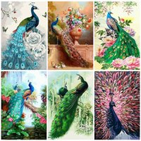 Wholesale peacock home decor canvas art resale online - wall art DIY Paint By Number On Canvas Kits Animal Decor For Home Coloring By Numbers Peacock Acrylic Paint Handmade Gift