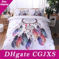 Wholesale white comforter sets resale online - Home Textile White Bedding Set Dream Catcher Duvet Cover Pillowcase Feather Bedding Set No Sheet For Adult Children