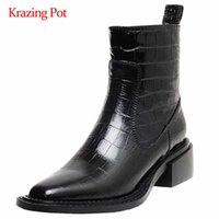 Wholesale western leather patterns resale online - Krazing pot western boots genuine leather stone pattern convenient square toe thick high heel zipper young lady ankle boots L27