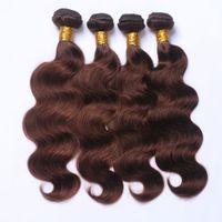 Wholesale Dark Brown Body Wave Brazilian Virgin Hair Bundles Human Remy Hair Extensions Hair Weaves Free Fast Shipping