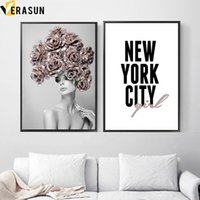 Wholesale new painting sexy resale online - Sexy Girl Rose Flower New York Quotes Wall Art Canvas Painting Nordic Posters And Prints Wall Pictures For Living Room Decor