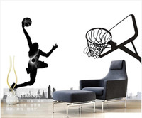 Discount black white vintage wallpaper 3d wallpaper custom photo mural on the wall Basketball city black and white home decor living room 3d wall murals wallpaper for walls 3 d