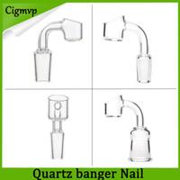 Wholesale 4mm thick club banger quartz nail resale online - 100 Real Quartz Banger Nails mm Thick Club Banger Domeless Quartz Nail mm mm mm Male Female Fast Shipping