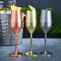 Wholesale rose gold stainless steel resale online - Stainless steel goblet stem Champagne glasses ml oz wine glasses ml oz silver gold rose gold DHA945