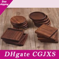 Wholesale solid wood table for sale - Group buy Solid Wood Coasters Coffee Tea Cup Pads Insulated Drinking Mats Black Walnut Teapot Table Mats Home Desk Mats Decoration Cfyz356