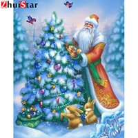 Wholesale diamond painting christmas resale online - Diy Diamond Embroidery Santa Claus Mosaic Picture Crystal Cross Stitch Full Drill D Diamond Painting Christmas Trees XY1