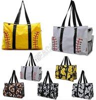 Wholesale yoga shopping resale online - INS Softball Baseball Handbag Large Travel Bag Canvas Designer Soccer Pattern Women Shopping Totes Sports Yoga Fittness Shoulder Bags D81311