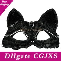 Wholesale cat woman halloween costume for sale - Group buy Cat Masquerade Mask Lace Half Face Ball Mask Women Costume Party Mask With Beads Decoration For Cosplay Costume Party Halloween Christmas