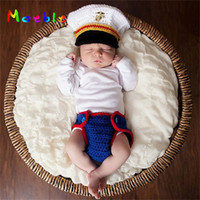 Wholesale baby diaper crochet photo resale online - Latest Crochet Newborn Boys Navy Costume Photo Prop Knitted Baby Hat and Diaper Set Photography Props Infant Photo Shoot Clothes