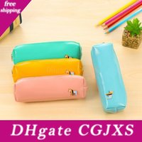 Wholesale school style fresh bags resale online - Fresh Style Candy Color Horse Pu Leather Pencil Case Stationery Storage Bag School Supplies
