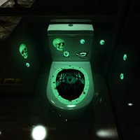 Wholesale toilet wc for sale - Group buy Luminous Toilet Stickers Horror Skull Witch Motif Gesture Bathroom Toilet Seat Sticker Halloween WC Home Decor EWE1884