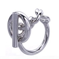 Wholesale making silver rings resale online - 925 Sterling Silver Rope Chain Ring With Hoop Lock For Women French Popular Clasp Ring Sterling Silver Jewelry Making
