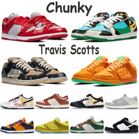 Wholesale Low dunk travis scotts men classic casual shoes tie dye black white chunky panda university red gold black cement infrared women sneakers