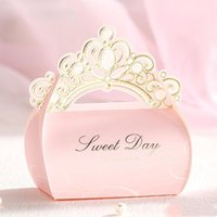 Wholesale paper princess crowns resale online - Chocolate Crown Wedding Bag Boxes New Paper Candy Box Wedding Boxes Romantic Candy Party Princess Gift Favor ppshop01 YdrBW