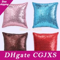 Wholesale glitter pillow case resale online - New Design cmx45cm Solid Color Glitter Sequin Square Pillow Case Car Office Home Party Throw Pillow Pillow Cover Decorations Colors