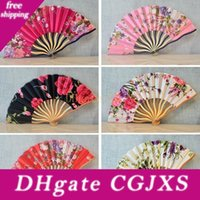 Wholesale kk women for sale - Group buy Retro Chinese Bamboo Folding Cherry Blossom Flower Design Art Ornament Classic Hand Fans Women Wedding Dance Party Favor Gift mq Kk