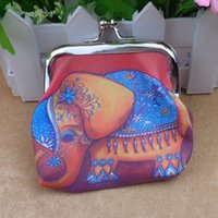 Wholesale elephant purse resale online - 3 inch wallet gift bag PVC printed coin purse elephant iron clip coin baganimal gift bag