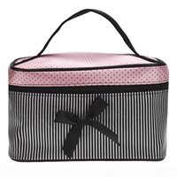 Wholesale lowest price lingerie for sale - Group buy Lowest Price Women s Bag Square Bow Stripe Cosmetic Bag Big Lingerie Bra Underwear Dot Bags Travel Bag toiletry kits Sac