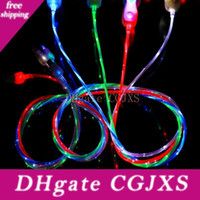 Wholesale flowing led cables for sale – best Visible Led Flow Android Micro Usb Mobile Phone Cables Usb2 Charger Cable Line For Samsung Galaxy S4 I9500 S6 Edge Note