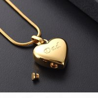Wholesale cremation urns resale online - LKJ8455 Dad Cremation Jewelry Gold Color Heart Shape Memorial Urn Necklace Stainless Steel Ashes Holder Keepsake