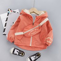 Wholesale children yellow cardigan for sale - Group buy 2020 Autumn Fashion Children Hooded Zipper Cardigan Jacket Leisure Belt Bag Baby Boy Girls Coat Letter Kids Top Clothes Year