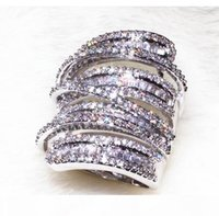 Wholesale wide band diamond wedding ring for sale - Group buy Victoira Princess Jewelry Sterling Silver Pave Setting White Topaz Simulated Diamond Wedding Engagement Wide Band Ring for Women Sz5