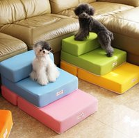 Wholesale small steps resale online - Breathable Mesh Foldable Pet Stairs Detachable Pet Bed Stairs Dog Ramp Steps Ladder for Small Dogs Puppy Cat Bed Cushion Mat Y200330