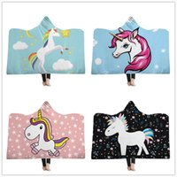 Wholesale snuggle blanket for sale - Group buy Throw Blankets For Childs Kids Cartoon Blanket With Hood Pink Unicorn Sherpa Fleece inches Snuggle Wrap Blanket