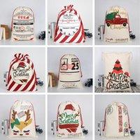 Wholesale Christmas Sack Bags Christmas Canvas Drawstring Bag Xmas Clause Gifts Reindeers Santa Sack Ornament Xmas Party Decora Storage Bags LSK706