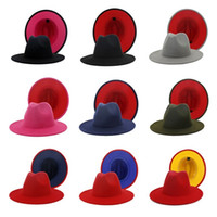 Wholesale chapeau hats for sale - Group buy Panama Cap Jazz Formal Hat Lady Felt Fedora Hats fashion Patchwork wide Brim caps Unisex Trilby Chapeau for Men Women Red Black