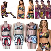 Wholesale girls cotton swimwear for sale - Group buy 18 Colors Womens Swimwear Designers Tie up Bra Shorts Swimming Trunk Pants Piece Tracksuit Patchwork Shark Swimsuit Bikini Set E22908