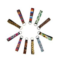 Wholesale supply chains resale online - Wristband Keychains Floral Printed Key Chain Neoprene Key Ring Wristlet Keychain Party Favor Festive Party Supplies DHD712
