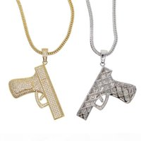 Wholesale gold neck chain for men resale online - Hip hop shiny Neck Gold color Plated Pistol Uzi Gun Pendants Necklaces Chain Necklace for Men Women Party Accessories Punk
