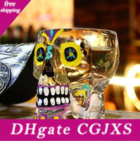 Wholesale colored skull resale online - Colored Drawing Skull Glass Cups Crystal Skull Head Vodka Wine Shot Glass Drinking Cup Skeleton Pirate Vaccum Beer Glass Mug Lxl1089
