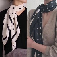 Wholesale silk chine resale online - New Black And White Wave Point He Ben Type Of Classic Crepe De Chine Silk Square Scarf Joker Silk Silk Scarf