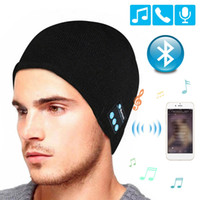 Wholesale headphone caps resale online - Bluetooth Earphone Music Hat Winter V5 Stereo Wireless Headphone Cap Headset With Mic Sport Hat For Meizu Sony Xiaomi Phone Gaming Headset
