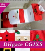 Wholesale christmas toilet covers for sale - Group buy Free Dhl Christmas Decorations Toilet Cover Creative Christmas Decorations Toilet Decoration Toilet Cover With Foot Mat