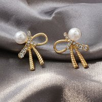 Wholesale pearl and diamond earrings resale online - S925 silver needle stud earrings bowknot pearl and diamond earrings