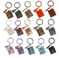 Wholesale leather bracelet stock resale online - STOCK PU Keychain Bracelet Wallet Leather Tassel Pendant Card Holder Wallet Leopard Sunflower Print Bracelet Ladies Bag Gift DHL FEDEX
