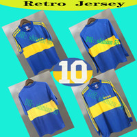 Wholesale 1981 Top Boca Juniors Retro Long sleeve Soccer Jersey Maradona ROMAN Caniggia PALERMO short sleeves Retro football shirt