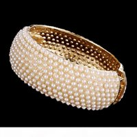 Wholesale pearl bangle bracelets for sale - Group buy Top Quality Luxury Pearl Bracelets Spring Wide Cuff Bangle Gold Alloy Bead Bracelet for Women Wedding Bride Bangles Jewelry Gifts