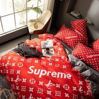 Wholesale full bedding sets resale online - Chic Red bedding sets full Letter king size bedding sets cover hot sale queen size pillow cases bedding sheet duvet cover set