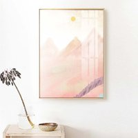 Wholesale pink landscape oil painting for sale - Group buy Pink Purple Mountain Landscape Canvas Oil Painting Abstract Wall Art Boho Style Pictures Posters for Bedroom Living Room Nordic Home Decor