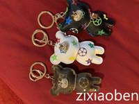 Wholesale 2020 Hot fashion New Fashion Key Chain Accessories Tassel Key Ring PU Leather Bear Pattern Car Keychain Jewelry Bag Charm